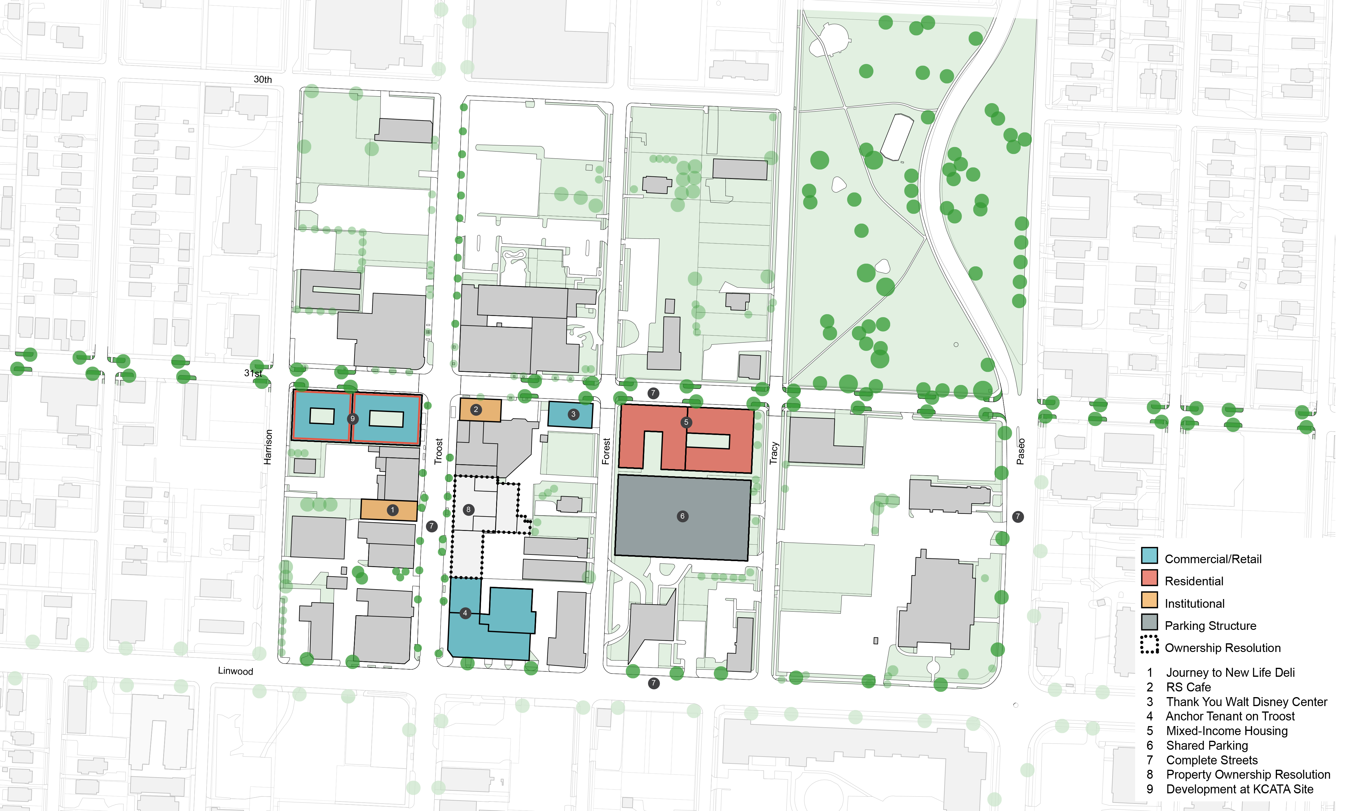 31st and Troost Revitalization Scenario catalytic project map