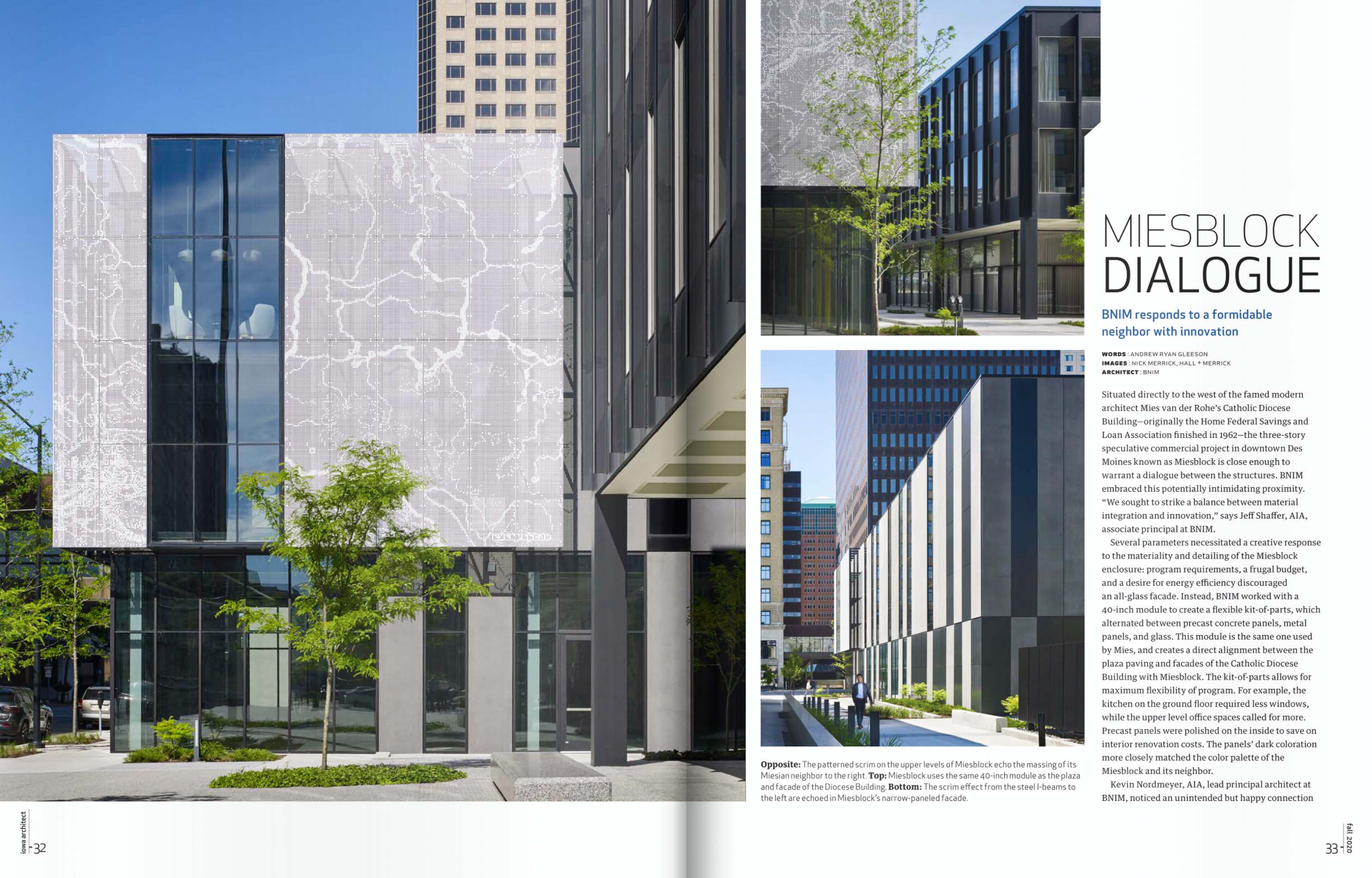 Miesblock featured in Fall 2020 Issue of Iowa Architect