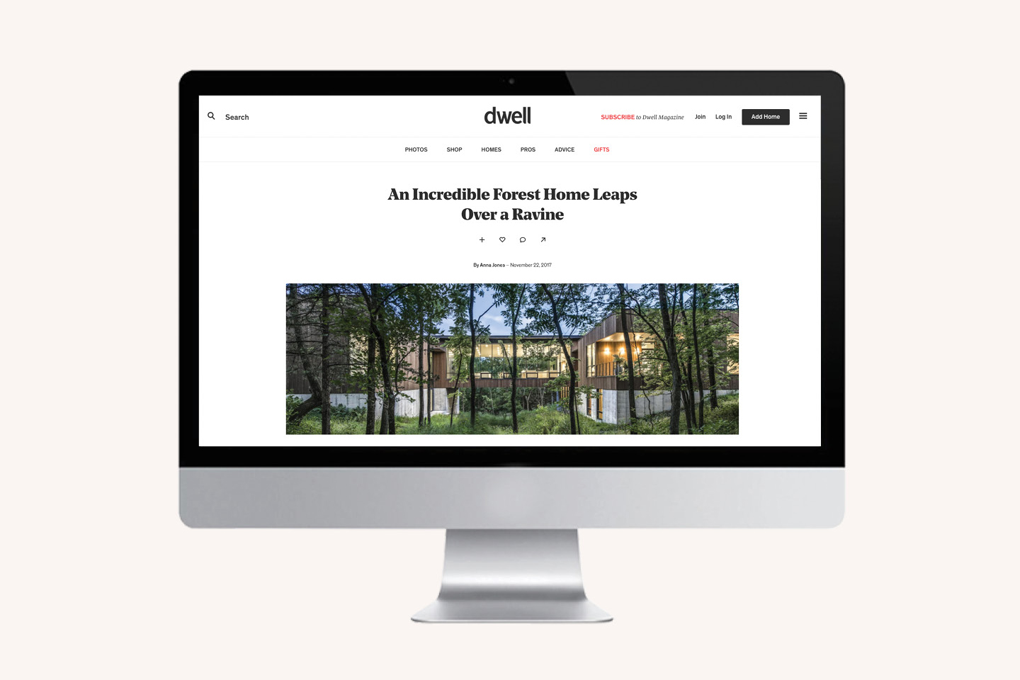 Ravine Residence on the Homepage of Dwell